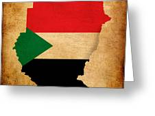 Map Outline Of Sudan With Flag Grunge Paper Effect Greeting Card