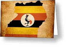 Map Outline Of Uganda With Flag Grunge Paper Effect Greeting Card