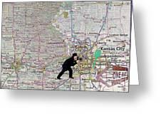 Map Overland Park Kansas Greeting Card