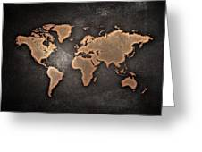 Map  The Continents  Grunge Greeting Card