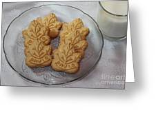 Maple Leaf Cookies And Milk - Food Art - Kitchen Greeting Card