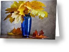 Maple Leaves In Blue Vase  Greeting Card