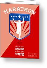 Marathon Runner Finish Run Poster Greeting Card by Aloysius Patrimonio
