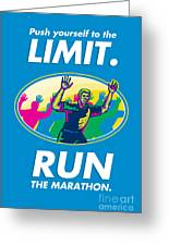 Marathon Runner Push Limits Poster Greeting Card