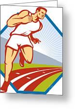 Marathon Runner Running Race Track Retro Greeting Card