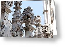 Marble Facade With Tower Duomo Di Milano Italia Greeting Card