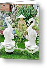 Marble Stork Sculptures In Xuat Anh-vietnam Greeting Card