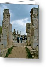 Marble Way From Theater To Central Ephesus-turkey Greeting Card