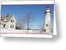 Marblehead Lighthouse In Snow Greeting Card