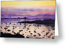 Marblehead Sunset Watercolor Greeting Card