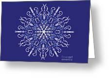 Marbleized Snowflake Kaleidoscope Greeting Card