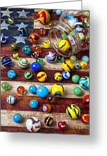 Marbles On American Flag Greeting Card by Garry Gay