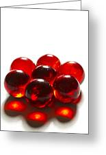 Marbles Red 3 B Greeting Card