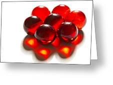 Marbles Red 3 C Greeting Card