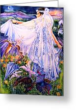 March Bride With Boxing Hares  Greeting Card by Trudi Doyle