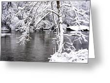 March Snow On The River Greeting Card