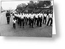 Marchers Number 1 100th Anniversary Parade Nogales Arizona 1980 Black And White  Greeting Card