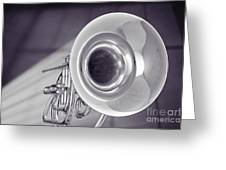 Marching French Horn Antique Classic In Sepia 3425.01 Greeting Card