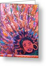 Mardi Gras Girl Revisited Greeting Card