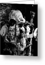Mardi Gras Indians At The Gold Mine Saloon In New Orleans Greeting Card