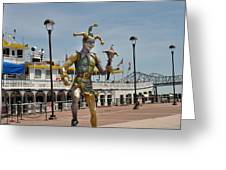 Mardi Gras Jester And River Boat Greeting Card