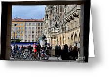 Mareinplatz And Glockenspiel Munich Germany Greeting Card