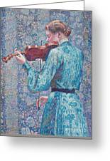 Marie Anne Weber Playing The Violin  Greeting Card