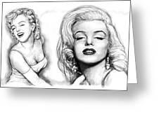 Marilyn Monroe Art Long Drawing Sketch Poster Greeting Card by Kim Wang