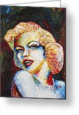 Marilyn Monroe Original Palette Knife Painting Greeting Card