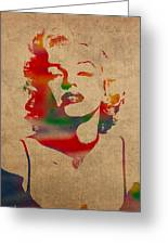 Marilyn Monroe Watercolor Portrait On Worn Distressed Canvas Greeting Card