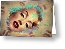 Marilyn Red Lips Digital Painting Greeting Card
