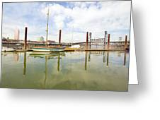 Marina Along Willamette River In Portland Greeting Card