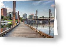 Marina Along Willamette River In Portland Oregon Downtown Greeting Card