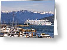 Marina And Horseshoe Bay Ferry Terminal Greeting Card