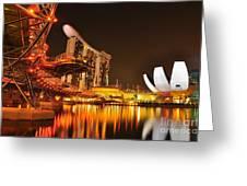 Singapore Cityscape At Marina Bay Sands Greeting Card