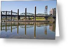 Marina By Willamette River In Portland Oregon Greeting Card