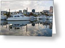 Marina On Willamette River In Portland Oregon Downtown Greeting Card
