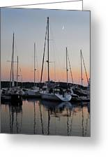 Marina Sunset Afterglow Greeting Card