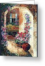 Marina's Garden Greeting Card by Lenore Crawford