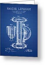 Marine Lifebuoy Patent From 1894 - Blueprint Greeting Card
