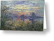 Marine View With A Sunset Greeting Card