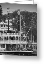 Mark Twain Riverboat Frontierland Disneyland Vertical Bw Greeting Card