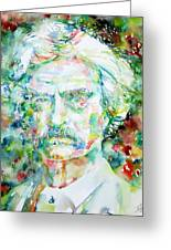Mark Twain - Watercolor Portrait Greeting Card by Fabrizio Cassetta