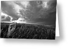 Marker - Black And White Photo Of Stone Marker And Brewing Storm In Kansas Greeting Card