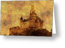 Marksburg Castle In The Rhine River Valley Greeting Card