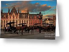 Markt Square At Dusk In Bruges Greeting Card