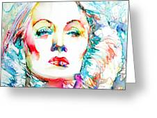 Marlene Dietrich - Colored Pens Portrait Greeting Card