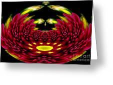 Maroon And Yellow Chrysanthemums Polar Coordinates Effect Greeting Card