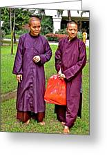 Maroon-robed Monks At Buddhist University In Chiang Mai-thailand Greeting Card