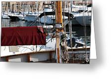 Maroon Sail  Greeting Card by John Rizzuto